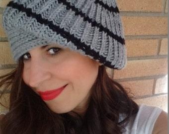 Black striped gray slouchy hat, women slouchy beanie,knitted women hat, winter hat, knitted beanie, winter accesories, women accesories