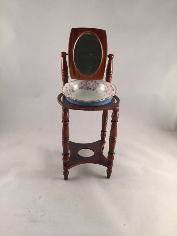 Vintage miniature wash basin stand with mirror and china bowl for Wash basin mirror price