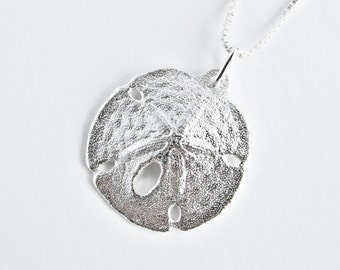 Sand Dollar Necklace Ocean Jewelry Seashell Necklace Mother's Day Gift Ocean Earrings Pendant Sanddollar Necklace Sea Shell Trending Jewelry