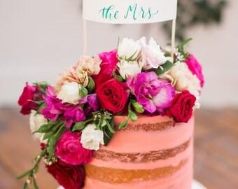 Calligraphy Banner Wedding Cake Topper, Watercolor Calligraphy Cake Topper, Hand Lettered Wedding Decor, Party Decor, Custom Cake Topper