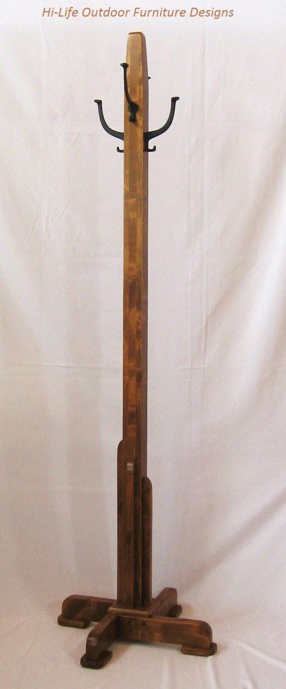 Art Deco Coat Tree Handmade Alder Wood 4 Cast Iron Hook Hat