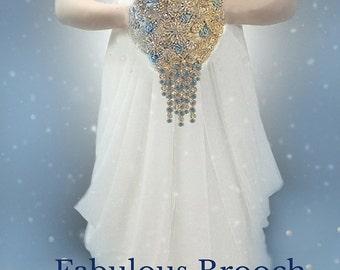 Brooch Bouquet, Frozen Inspired Bouquet, Elsa Bouquet, Fantasy Wedding Bouquet, Winter Wedding Bouquet - Deposit Only - Full Price 375.00