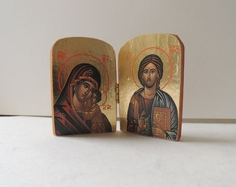 Miniature Ortodox Icon Diptych of Jesus and Mary  Carved Panels