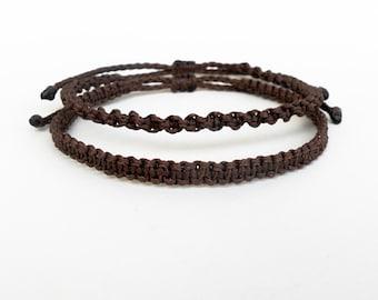 Brown macrame bracelet,Mens jewelry,Accessories for men,Surfer bracelets,Surf jewelry,Boyfriend gift,Hippie,Earthy bracelet,Waxed wristband