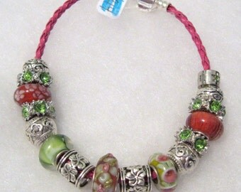 214 - CLEARANCE - Pink and Green Bracelet