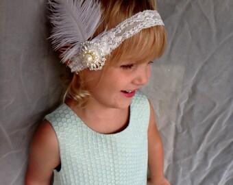 Feather headband, toddler headband, gatsby headband, kids headband, birthday headband, fancy headband, wedding headband