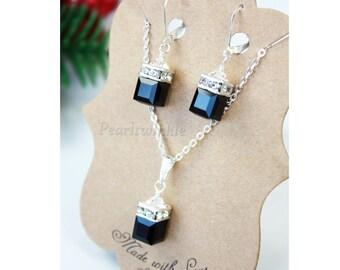 mother's day, Jet Black Swarovski Crystal Jewelry Set, gift for mom, Swarovski Earrings Necklace Jewelry Set, Black Classic Evening Jewelry