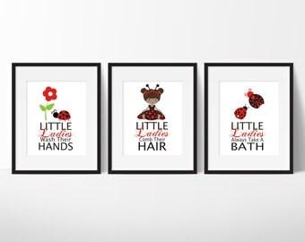 Bathroom Wall Decor - Bathroom Decor - Girls Bathroom Decor - Ladybug Bathroom Prints - Ladybug Art - Ladybug Wall Art - Little Ladybugs