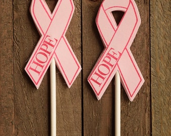 Breast Cancer Ribbon Cupcake Topper, Pink Ribbon Cupcake Toppers, Pink Ribbon (Set of 12)