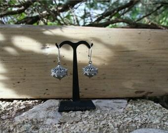 ON SALE Croatian Filigree Earrings, Large Silver Dangle Earrings, Filigree Ball Earrings, 925 Silver Earrings, Vintage Earrings, Mediterrane
