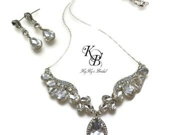 Bridal Jewelry Set, Rhinestone Jewelry Set, Crystal Jewelry Set, Wedding Jewelry Sets for Brides, Necklace and Earring Set, Vintage Style