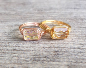 Swarovski Crystal Wire Wrapped Ring // Boho Ring //