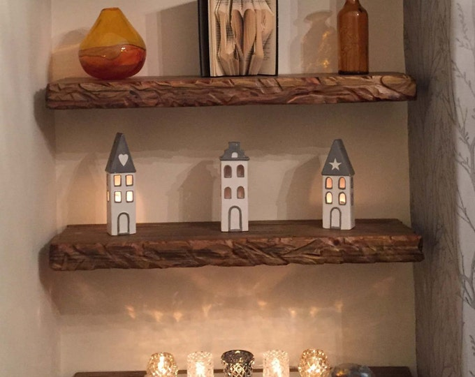 Country Cottage Reclaimed Wood Wall Mounted Floating Shelf Medium Oak Stain & Decorative Carving on Sides Fixings Supplied