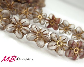 10 Frosted Flower Beads, Transparent with Marbled White and Muave, Old Gold Finish, Matte Puffed Flower, 14mm Smokey Glass