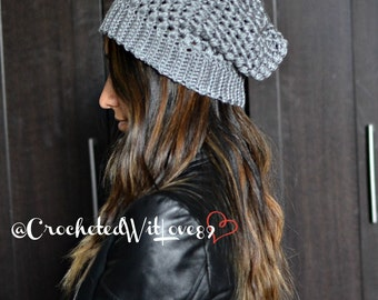 Slouchy Crocheted Beanie (with or without Pom Pom)