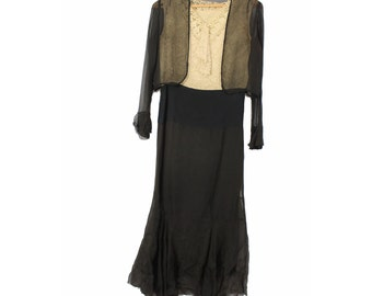 1920s Black Silk & Lace Drop Waist Dress with Matching Jacket - Size Extra Small