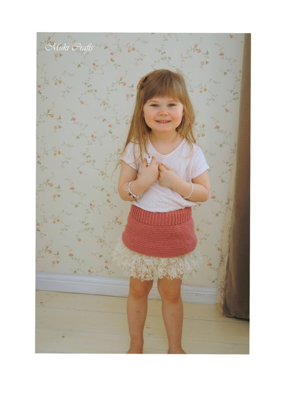 CROCHET PATTERN tutu mini skirt Styna with ruffles and lace (toddler/child sizes)