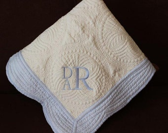 Heirloom Baby Quilt  /Monogrammed---NOW ON SALE!