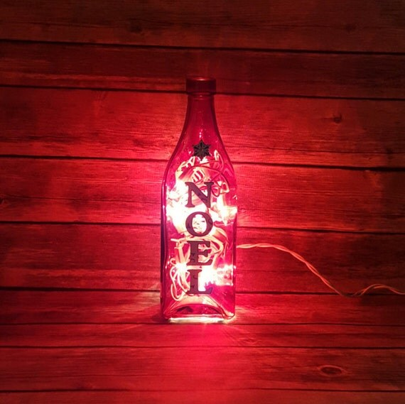 Christmas Noel Lighted Wine Bottle