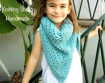 Hand knit shawl, Girls Clothes, Bastian Shawl, Crochet shawl, Kids shawl, Handmade Wrap, Stripped Shawl,