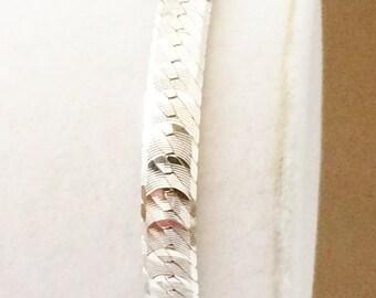 """Sterling Silver Textured Herringbone Bracelet 7"""" x 7mm"""