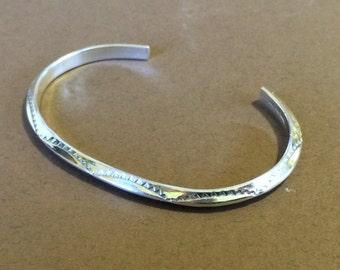 """Sterling Silver Textured Cuff Bracelet 6 1/2"""" For Smaller Wrist"""