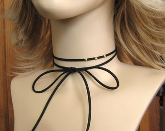 """Leather Wrap Choker Necklace, Bow Tie Choker, 48"""" Vegan Faux Suede with 3mm Gold or Silver Beads - Boho Necklace, Grunge Choker"""