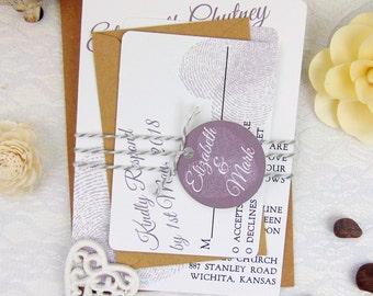 Custom Wedding Invitation Set, Elegant Wedding Invitation, Modern Wedding Invitation, Rustic Wedding Invitation, Heart Fingerprint Invite