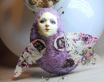 Sirin bird lilac flowers OOAK Art Doll-pendant interior, Handmade, Papier mache