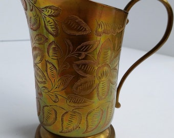Floral Etched Brass Pitcher