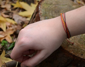Forest Waxed Thread Hand-Made Bracelet, Red & Yellow Adjustable Bracelet, Christmas Gift, Stocking Stuffer, Unisex Gift