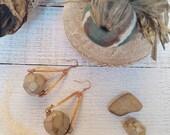 Faceted stone copper Tribal boho earrings Ethnic african Copper tribal Faceted boho