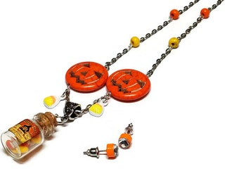 Candy Corn Bottle Necklace with Matching Earrings, Halloween Costume Jewelry, Candy Corn Halloween Jewelry