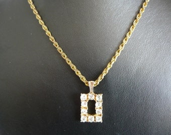 Vintage Gold Tone Rectangle Pendant Necklace with Sparkling Clear Rhinestones
