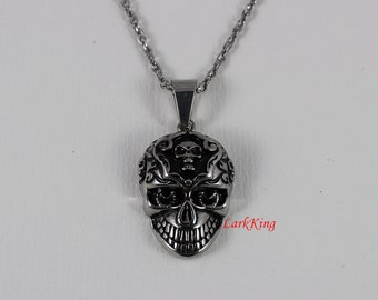 Skull necklace, skeleton necklace, stainless steel, Jewelry necklace, skull pendant, halloween necklace, fashion necklace, NE7018
