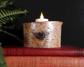 Birch Glitter Candle Holder, Holds a Flameless LED Tealight Candle, Bring Nature Indoors, Holiday Decor, Unique Gift, Rustic Decor, GLT135