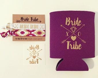 NEW! Bride Tribe Bachelorette Gift Set | Metallic Gold Tattoo, Hair Tie + Drink Cooler | Bachelorette Gift, Boho Bachelorette Party Favor
