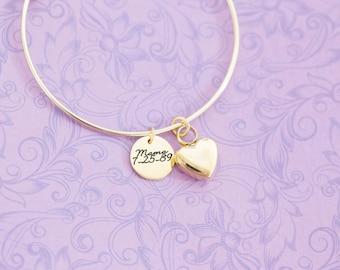 Stainless Memorial Bangle Bracelet - Cremation Jewelry - Engraved Jewelry - Urn Bracelet - Pet Memorial - Ash Bracelet - Engraved Bracelet