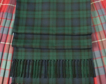 Tartan Sash in Black Watch variant. Handmade with Knotted Fringe