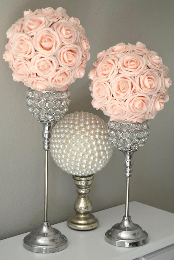 Pink blush kissing ball wedding centerpiece