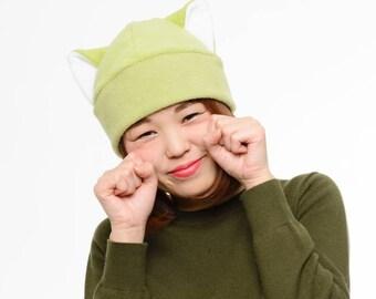 Green Cat Ears - Green Cat - Cat Ear Hat - Kitty Cat Hat - Green Cat Ears - Cat Costume Hat - Cat Toque Hat - Cat Cosplay - Anime Cat Hat