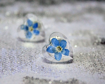 heart stud earrings blue small studs heart jewelry forget me not blue studs flower jewelry gifts for her valentine day gift blue heart Кю43