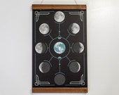 """Lunar Phases - Astronomy Poster - 12.5 x 19"""" - Screen Printed"""