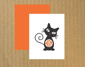Cat Note Cards, Set of 10, Cat Monogram Note Cards, Monogram Note Cards, Black Cat Monogram