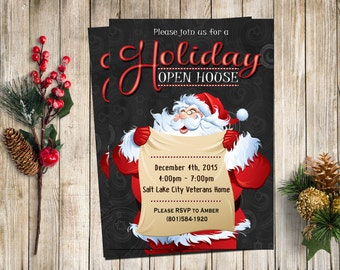 Christmas Open House Invitation, Christmas Party Invitation, Holiday Party Invitation, Printable Christmas Party Invitation, Kids Invitation