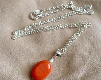 Sterling Silver Orange/Red Bead Pendant