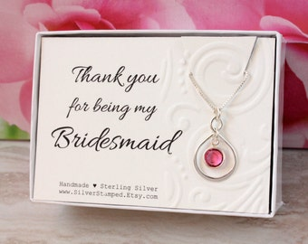 Thank you gift for bridesmaid thank you sterling silver Swarovski birthstone or pearl necklace, thank you for being my Bridesmaid gift box