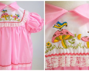 Baby Girl Dress, Pink Bird Dress, 1970s, Baby Clothes, 12 Months