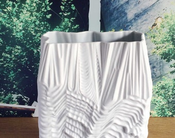 Unusual and Martin Freyer OP art Vase by Rosenthal Studio Line Relief German White Matte Bisque Porcelain Mid Century