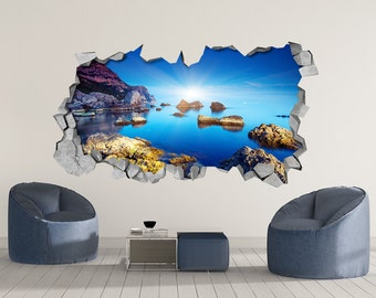Rocky Sea   3d Wall Art   Broken Wall   3d Wall Stickers   Wall Sticker